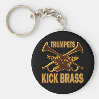 TRUMPETS KICK BRASS BASIC ROUND BUTTON KEY RING