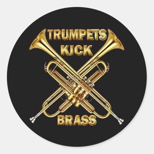 Trumpets Kick Brass Round Stickers