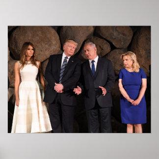 Trumps & Netanyahus At Yad Vashem In Jerusalem Poster