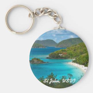 Trunk Bay, St John USVI Basic Round Button Key Ring
