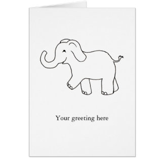 Trunk up elephant happy lucky cute simple art card