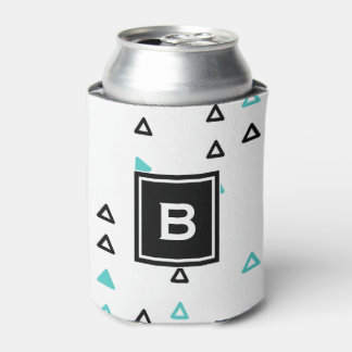 Truquoise & Black Triangles Pattern Monogram Can Cooler