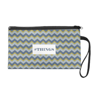 Trusses Chevron Blue and Yellow Wristlet Purses