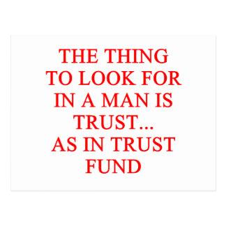 TRUST fund gold digger joke Postcard