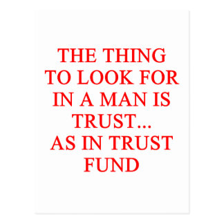 TRUST fund gold digger joke Postcards