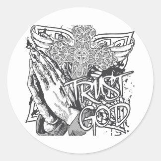 Trust God Round Sticker