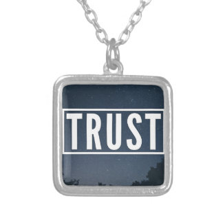 Trust hipster typography silver plated necklace