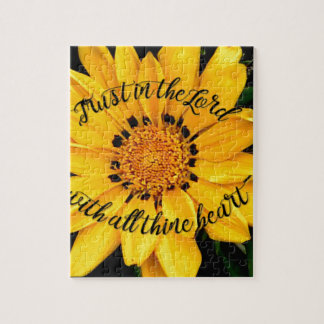 Trust in the Lord Bright Yellow Flower Jigsaw Puzzle