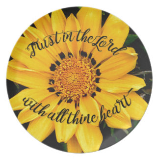 Trust in the Lord Bright Yellow Flower Plate