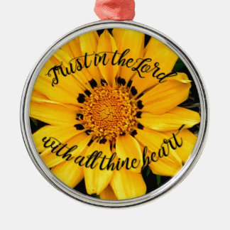 Trust in the Lord Bright Yellow Flower Silver-Colored Round Decoration