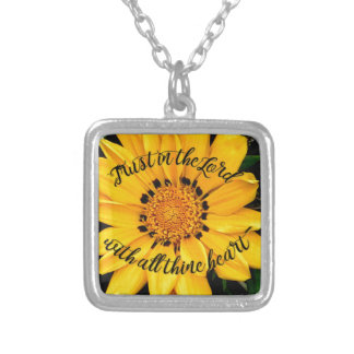 Trust in the Lord Bright Yellow Flower Silver Plated Necklace