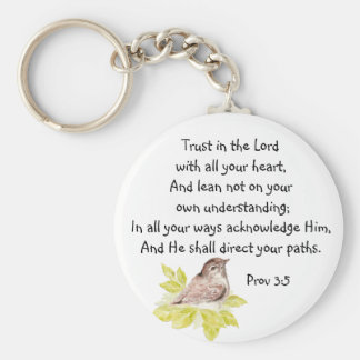Trust in the Lord Scripture with Watercolor Bird Key Ring