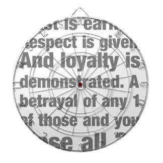 trust, loyalty, respect saying dartboards
