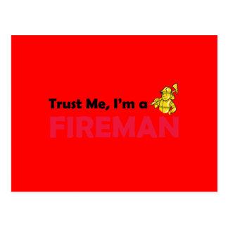 Trust Me I'm a Fireman Postcard
