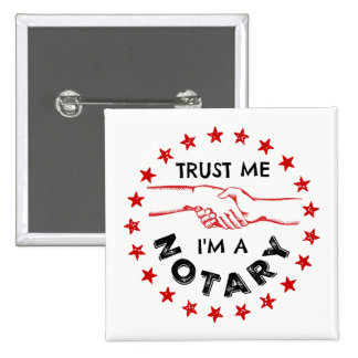 Trust Me, I'm a Notary Handshake 15 Cm Square Badge