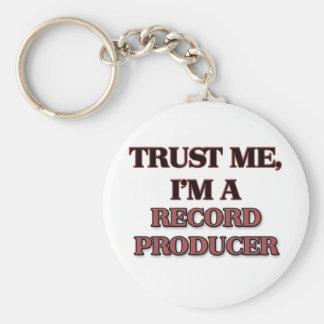 Trust Me I'm A RECORD PRODUCER Basic Round Button Key Ring