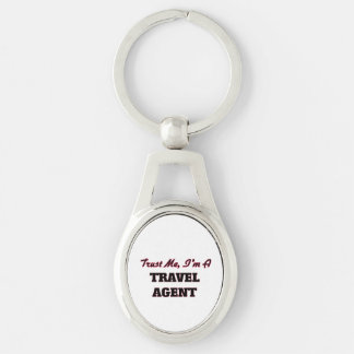 Trust me I'm a Travel Agent Silver-Colored Oval Key Ring