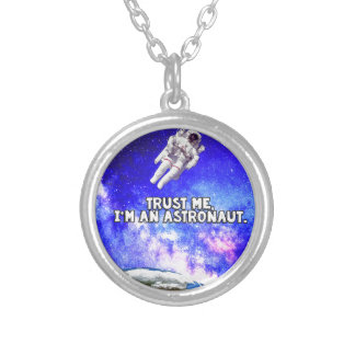 Trust Me I'm an Astronaut Silver Plated Necklace