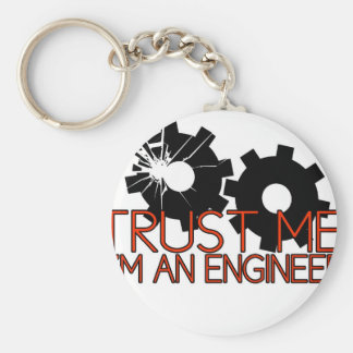 Trust Me, I'm an engineer. Basic Round Button Key Ring
