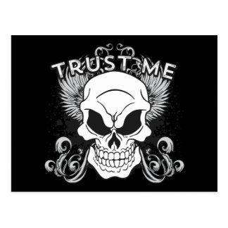 Trust Me Smiling Skull and Wings Postcard