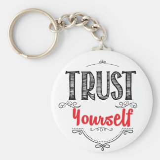 trust yourself basic round button key ring