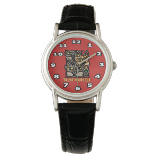 """Trust Yourself"" Classic Womens Black Leather Wristwatches"