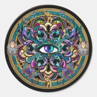 Trust Yourself ~ The Eyes of the World Mandala Round Sticker