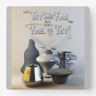 Try & Fail But Don't Fail to Try Stylish Pottery Wallclock