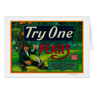 Try One Pear Crate Label Card