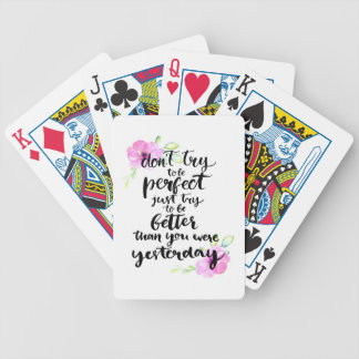 Try to Be Better Than Yesterday - Watercolor Print Bicycle Playing Cards