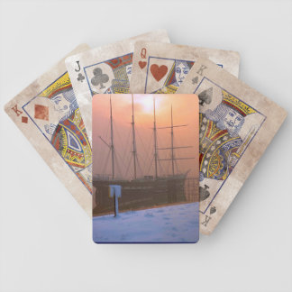 TS Arethusa at sunset on a snowy day Poker Cards