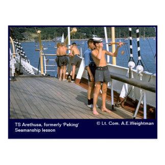 TS Arethusa, formerly 'Peking' Seamanship lesson Postcard