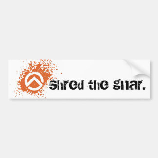 ts-icon-white-orng, shred the gnar. bumper sticker
