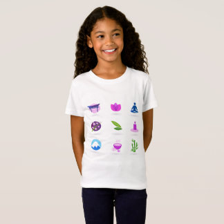 Tshirt  for girl with wellness icons