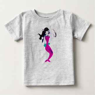 Tshirt grey with Pink mermaid drawing