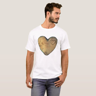 Tshirt Valentine - Wood heart