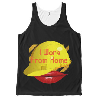TshirtG I Work From Home Block Logo All-Over Print Tank Top