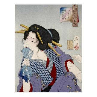 Tsukioka Yoshitoshi (月岡 芳年) - Looking in Pain Postcard
