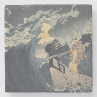 Tsukioka Yoshitoshi - Benkei Against A Full Moon Stone Beverage Coaster