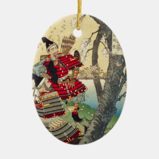 Tsukioka Yoshitoshi - Yoshitsune and Benkei Ceramic Ornament