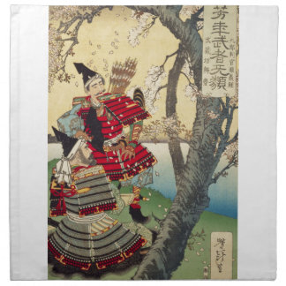 Tsukioka Yoshitoshi - Yoshitsune and Benkei Napkin
