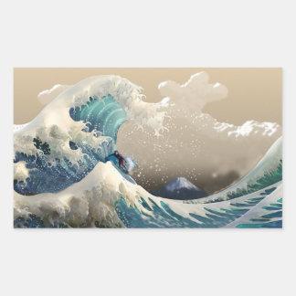 tsunami surf rectangular sticker