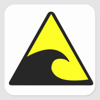 Tsunami Warning Square Sticker