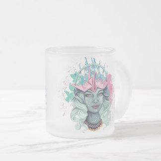 Tsuru Origami Girl Frosted Glass Coffee Mug