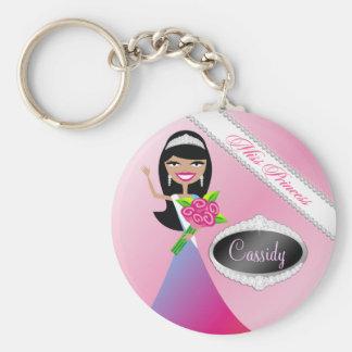 TT-Beauty Pageant Miss Princess | Black Brunette Key Ring