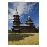 Ttraditional wooden Russian Orthodox church Greeting Card
