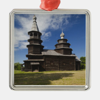 Ttraditional wooden Russian Orthodox church Silver-Colored Square Decoration