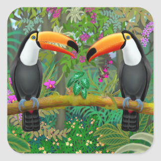 Ttropical Toucans in Jungle Stickers