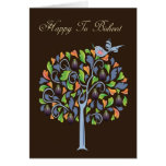 Tu Bishvat - Fig Tree And Bird - Card For Tu Bishv