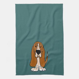 TU- Funny Basset Hound Original Art Tea Towel